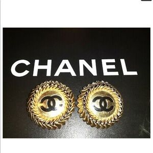 Lovely Chanel clip earrings gold tone w/ black Cs